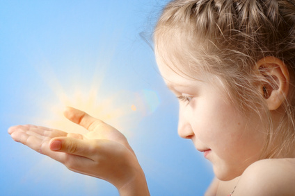 child holding treasure