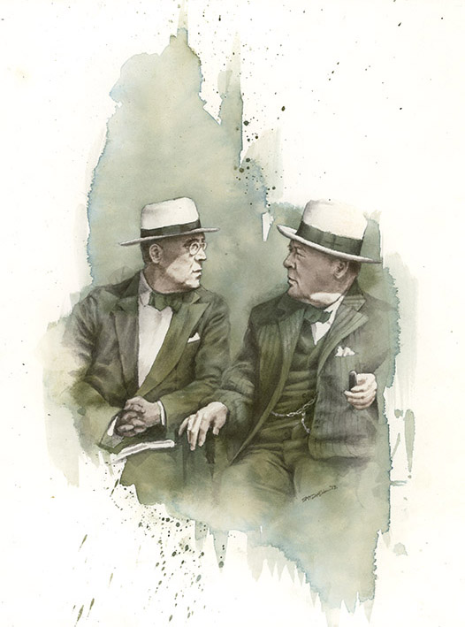 Roosevelt and Churchill watercolor